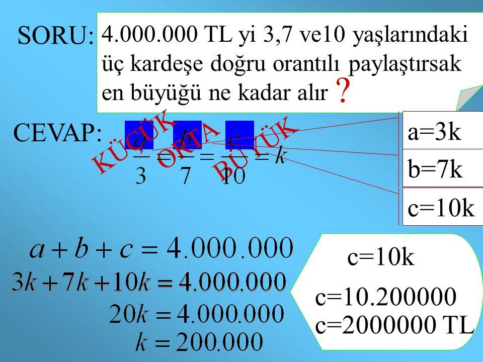 SORU: 4.000.000 TL yi 3,7 ve10 yaşlarındaki üç kardeşe doğru orantılı paylaştırsak en büyüğü ne kadar alır ? CEVAP: ORTA BÜYÜK KÜÇÜK c=10k c=10.200000