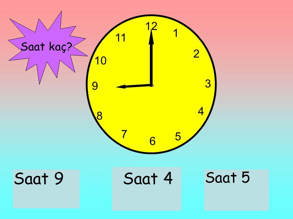 12 1 2 3 6 9 11 10 7 8 4 5 Saat 9Saat 4 Saat 5 Saat kaç?