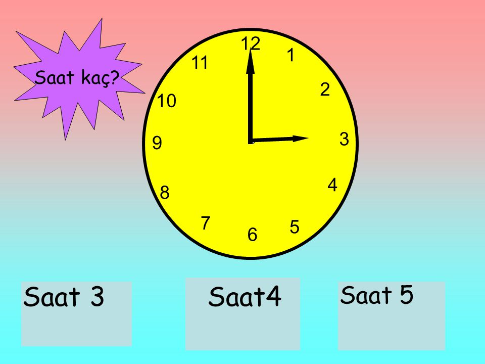 12 1 2 3 6 9 11 10 7 8 4 5 Saat 3Saat4 Saat 5 Saat kaç?