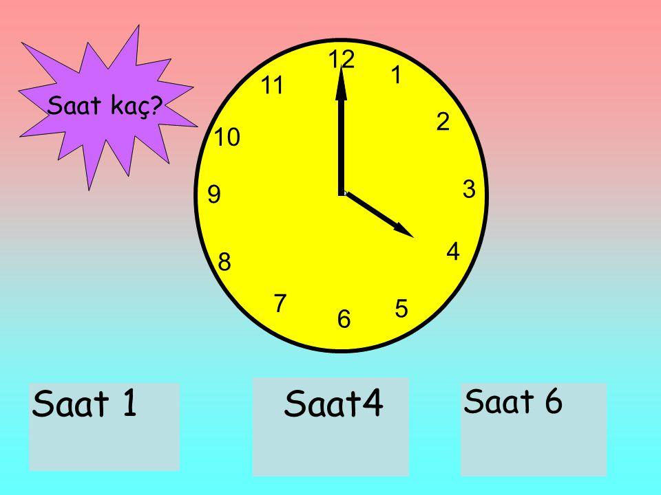 12 1 2 3 6 9 11 10 7 8 4 5 Saat 1Saat4 Saat 6 Saat kaç?