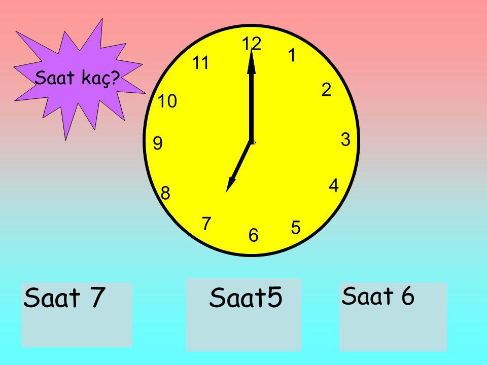 12 1 2 3 6 9 11 10 7 8 4 5 Saat 7Saat5 Saat 6 Saat kaç?