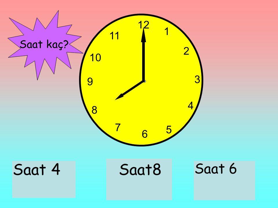 12 1 2 3 6 9 11 10 7 8 4 5 Saat 4Saat8 Saat 6 Saat kaç?