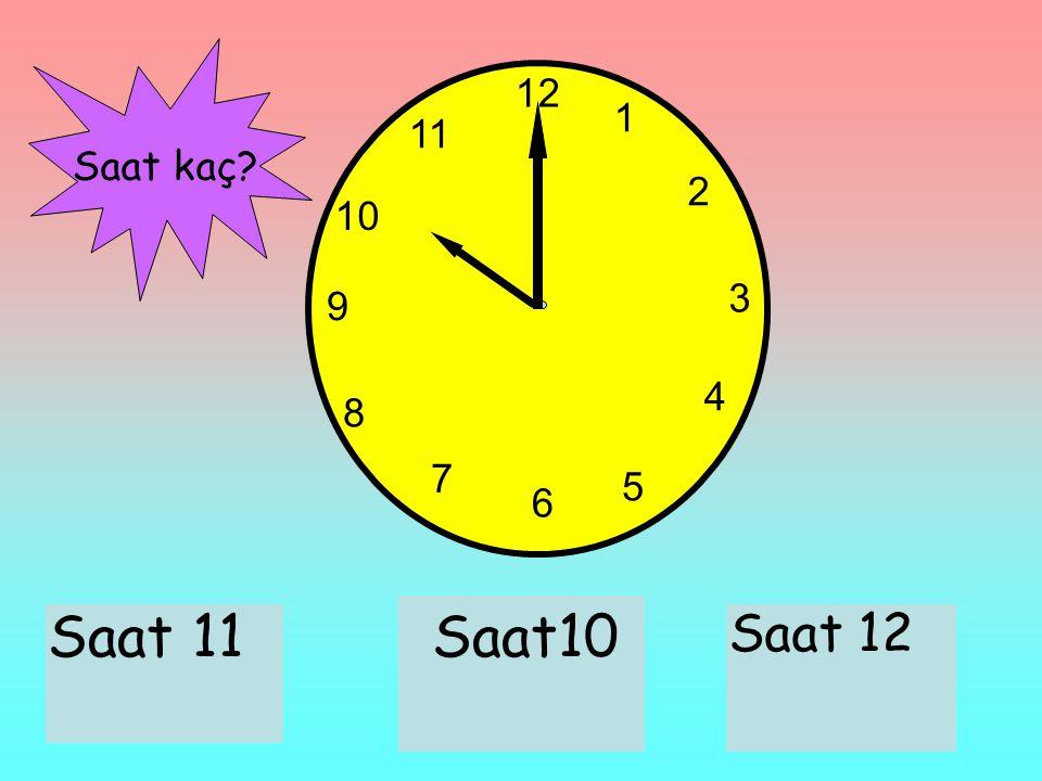12 1 2 3 6 9 11 10 7 8 4 5 Saat 11Saat10 Saat 12 Saat kaç?