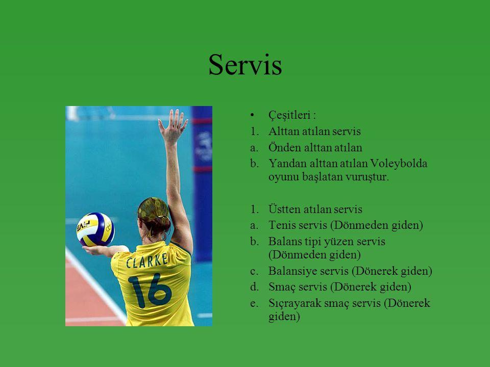 Servis •Çeşitleri : 1.Alttan atılan servis a.Önden alttan atılan b.Yandan alttan atılan Voleybolda oyunu başlatan vuruştur. 1.Üstten atılan servis a.T