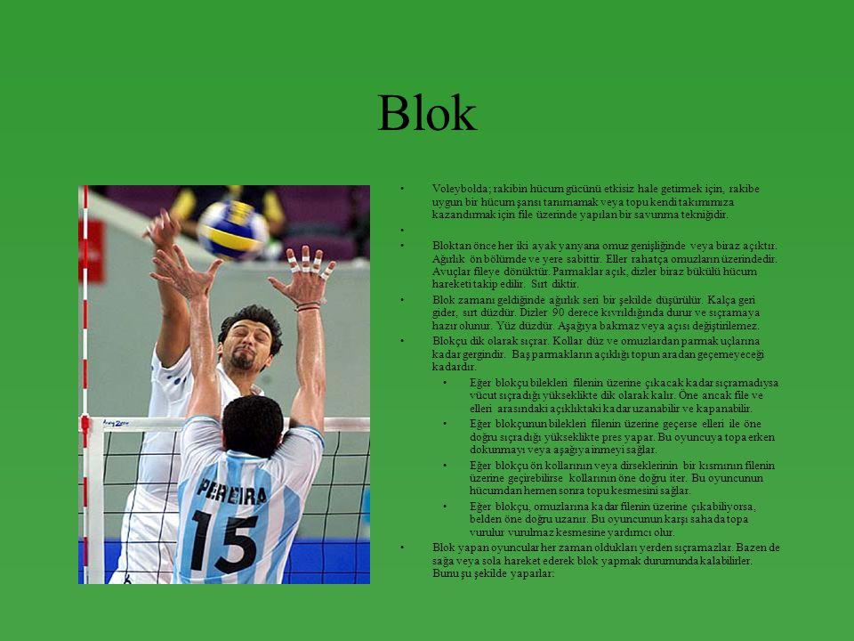 Blok •Voleybolda; rakibin hücum gücünü etkisiz hale getirmek için, rakibe uygun bir hücum şansı tanımamak veya topu kendi takımımıza kazandırmak için file üzerinde yapılan bir savunma tekniğidir.