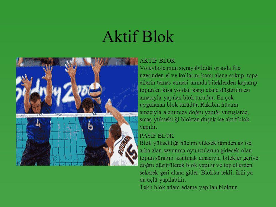 Aktif Blok •AKTİF BLOK Voleybolcunun sıçrayabildiği oranda file üzerinden el ve kollarını karşı alana sokup, topa ellerin temas etmesi anında bileklerden kapanıp topun en kısa yoldan karşı alana düşürülmesi amacıyla yapılan blok türüdür.