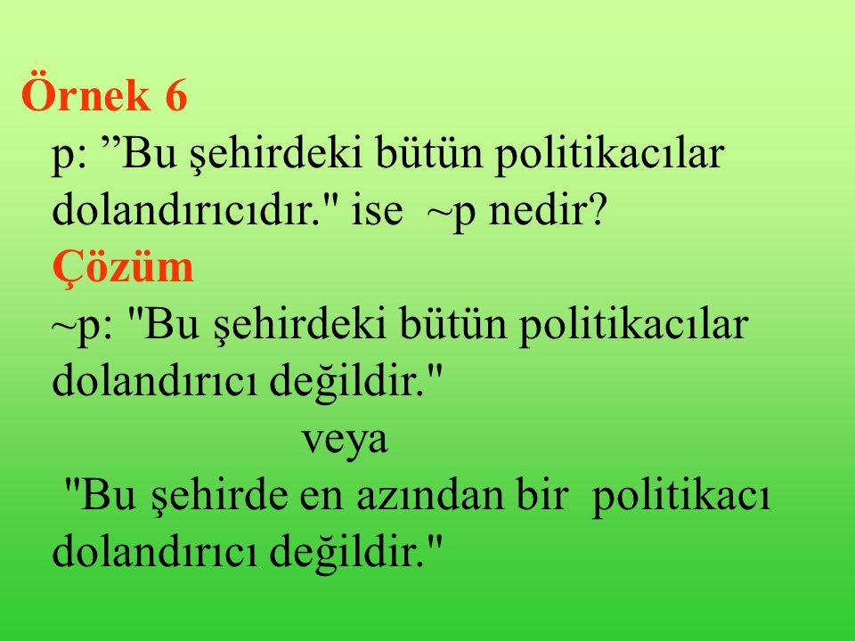 Örnek 5 p: İstanbul'u Fatih Sultan Mehmet fethetti. ~p nedir?.