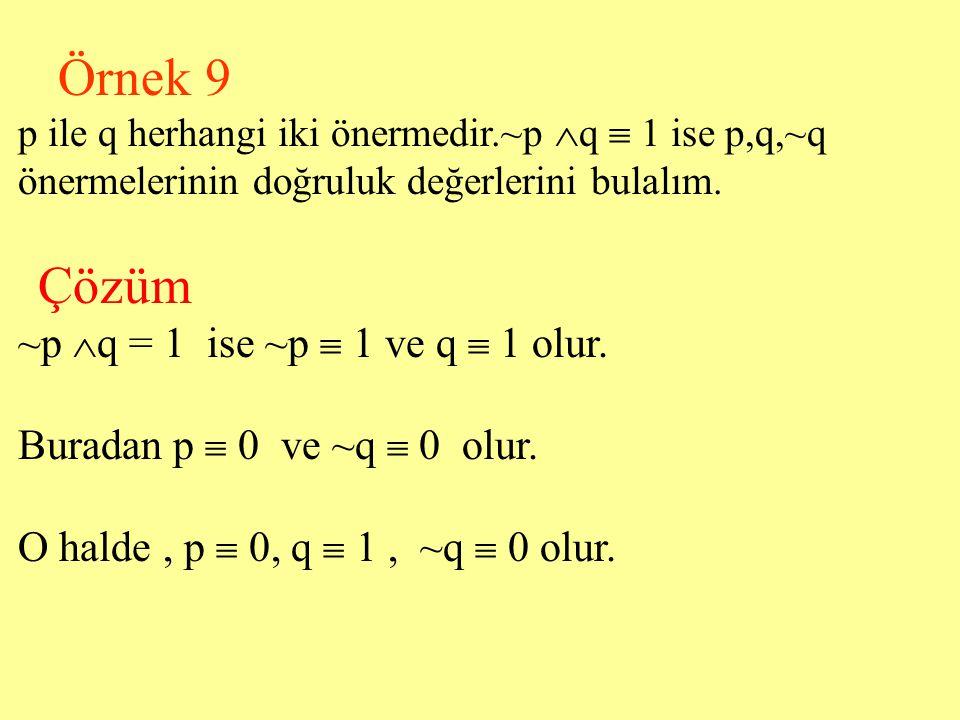 Örnek 8 p : Bu ünite sıkıcıdır. q : Mantık konusu sıkıcı bir konudur.