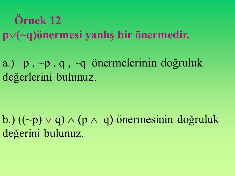 Örnek 11 p: 3 2 + 4 2 = 52 52 dir. q: 8 < 5 tir ve r: 4 - 5 = 1 ise (p  q)  r' bileşik önermesinin doğruluk değerini bulunuz.