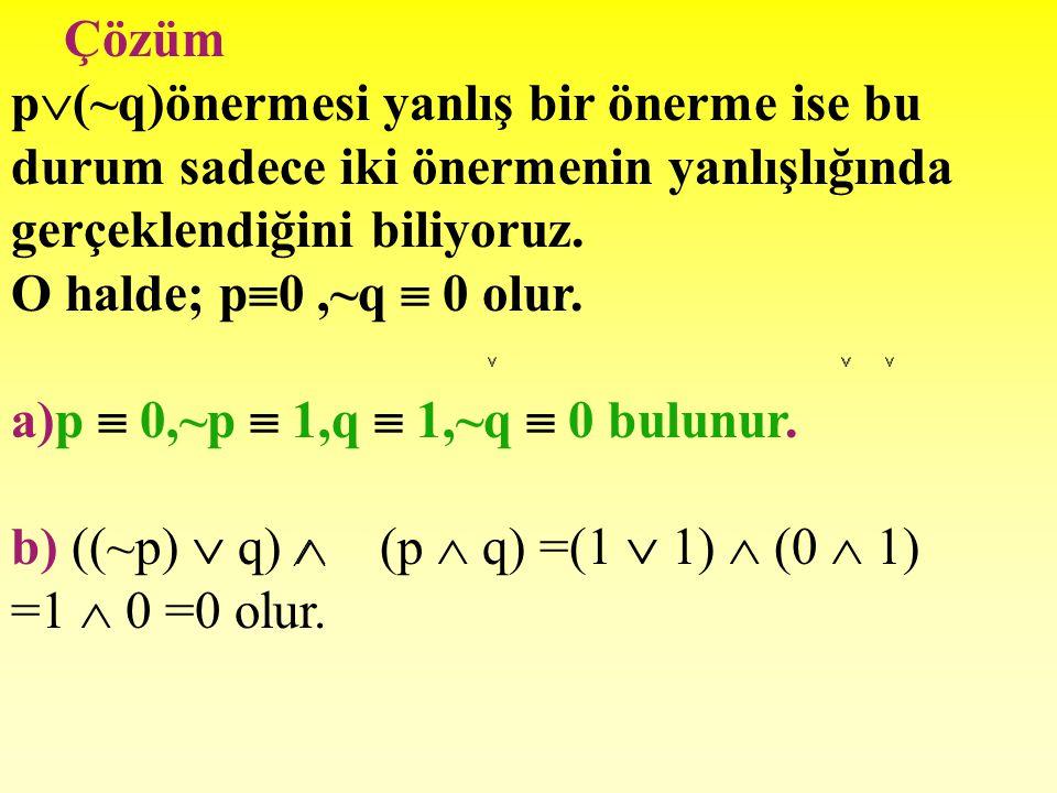 Örnek 12 p  (~q)önermesi yanlış bir önermedir. a.) p, ~p, q, ~q önermelerinin doğruluk değerlerini bulunuz. b.) ((~p)  q)  (p  q) önermesinin doğr
