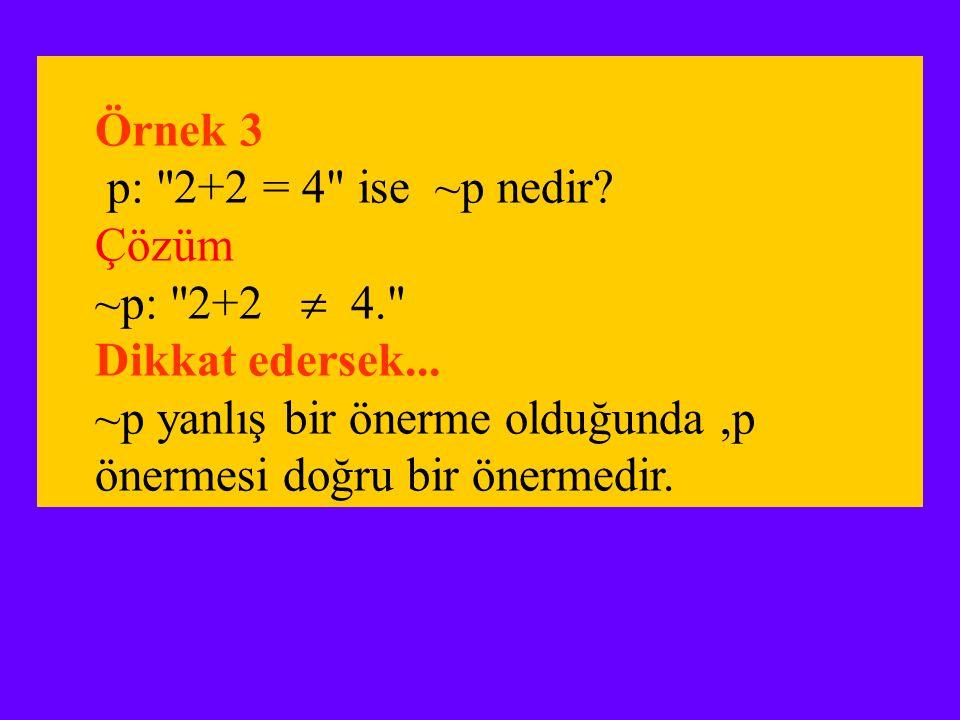 Örnek 3 p: 2+2 = 4 ise ~p nedir.Çözüm ~p: 2+2  4. Dikkat edersek...