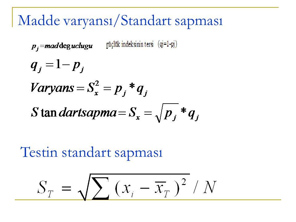 Madde varyansı/Standart sapması Testin standart sapması