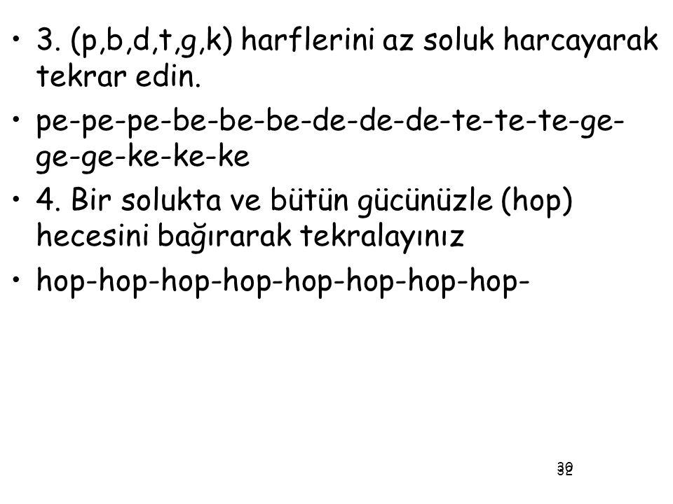 32 •3. (p,b,d,t,g,k) harflerini az soluk harcayarak tekrar edin. •pe-pe-pe-be-be-be-de-de-de-te-te-te-ge- ge-ge-ke-ke-ke •4. Bir solukta ve bütün gücü