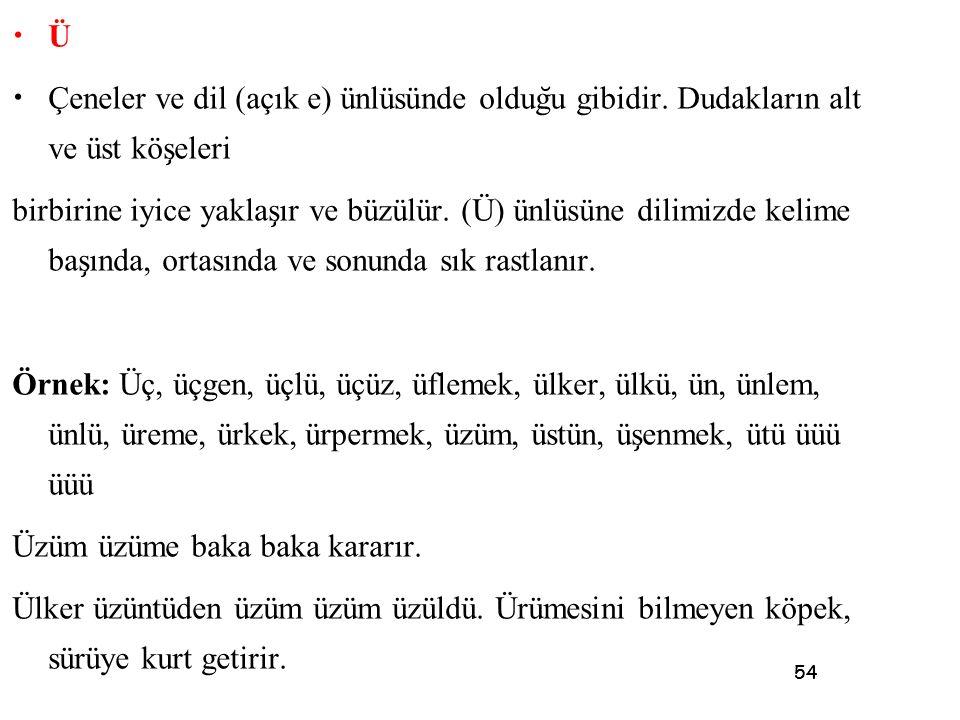 54 • Ü • Çeneler ve dil (açık e) ünlüsünde oldug ̆ u gibidir. Dudakların alt ve üst kös ̧ eleri birbirine iyice yaklas ̧ ır ve büzülür. (Ü) ünlüsüne d