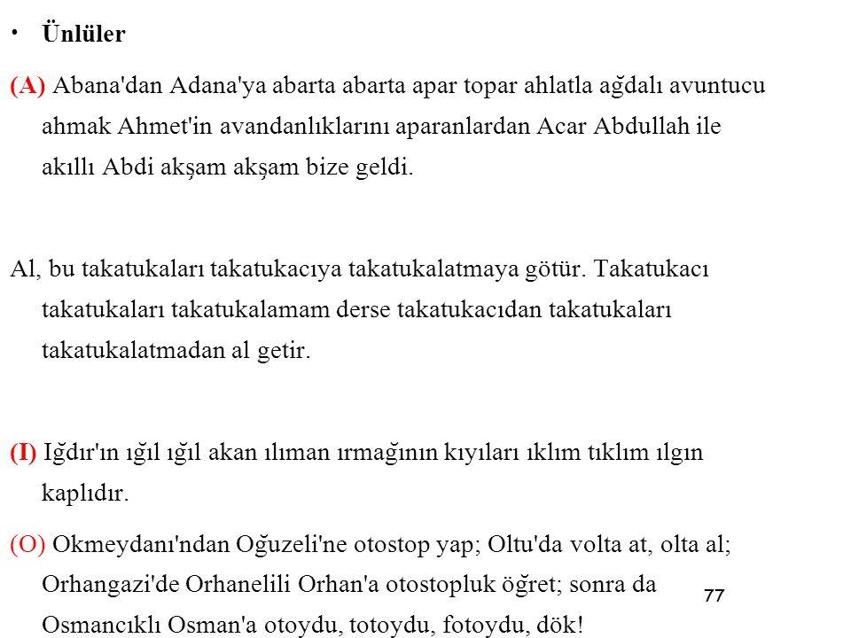 77 • Ünlüler (A) Abana'dan Adana'ya abarta abarta apar topar ahlatla ag ̆ dalı avuntucu ahmak Ahmet'in avandanlıklarını aparanlardan Acar Abdullah ile