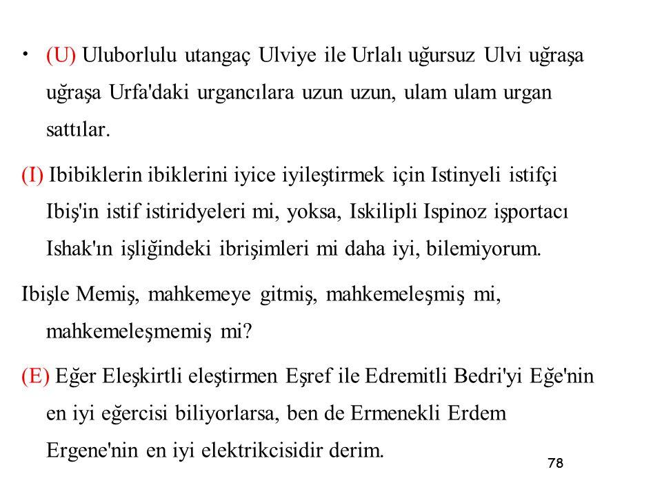 78 • (U) Uluborlulu utangaç Ulviye ile Urlalı ug ̆ ursuz Ulvi ug ̆ ras ̧ a ug ̆ ras ̧ a Urfa'daki urgancılara uzun uzun, ulam ulam urgan sattılar. (I