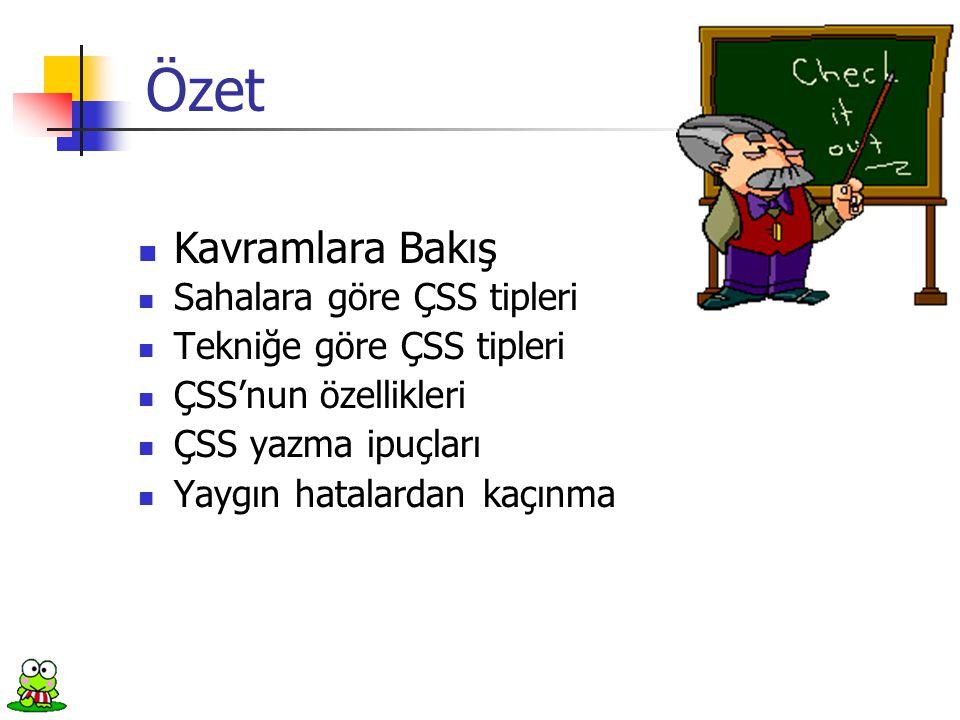  Sahalara göre ÇSS tipleri  Tekniğe göre ÇSS tipleri  ÇSS'nun özellikleri  ÇSS yazma ipuçları  Yaygın hatalardan kaçınma Özet  Kavramlara Bakış