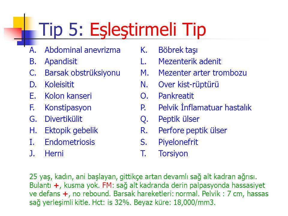 Tip 5: Eşleştirmeli Tip A.Abdominal anevrizmaK.Böbrek taşı B.Apandisit L.Mezenterik adenit C.Barsak obstrüksiyonuM.Mezenter arter trombozu D.Koleisiti