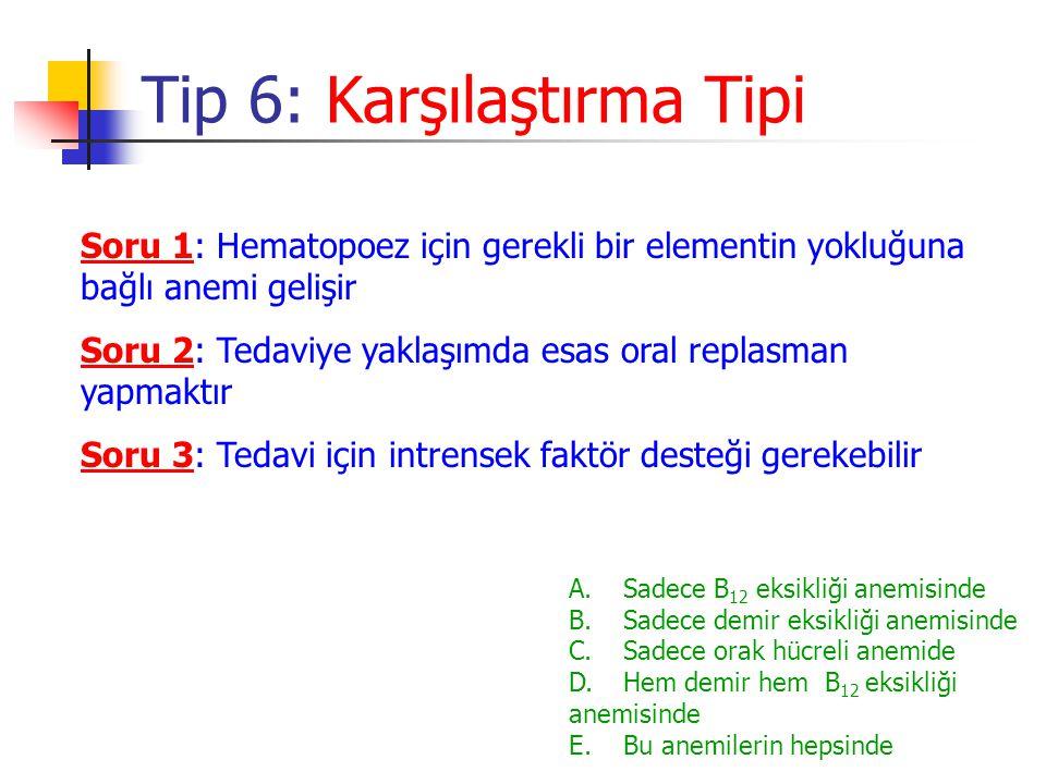 Soru 1: Hematopoez için gerekli bir elementin yokluğuna bağlı anemi gelişir Tip 6: Karşılaştırma Tipi A.Sadece B 12 eksikliği anemisinde B. Sadece dem