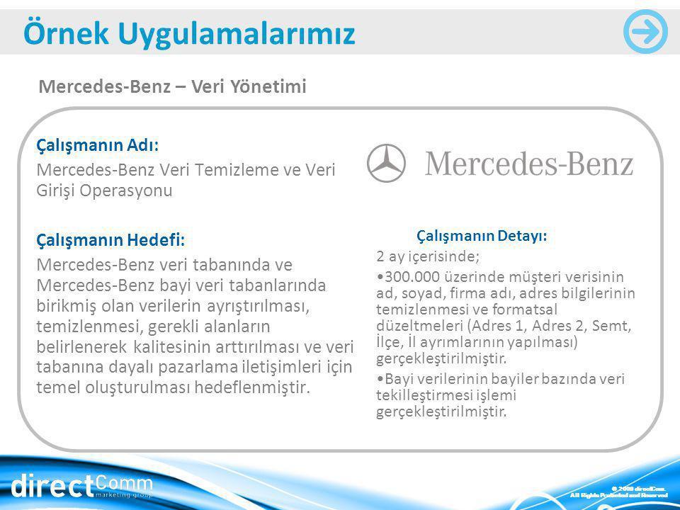 © 2009 directCom. All Rights Protected and Reserved Çalışmanın Adı: Mercedes-Benz Veri Temizleme ve Veri Girişi Operasyonu Çalışmanın Hedefi: Mercedes