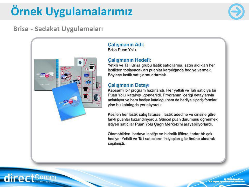 © 2009 directCom. All Rights Protected and Reserved Brisa - Sadakat Uygulamaları Örnek Uygulamalarımız