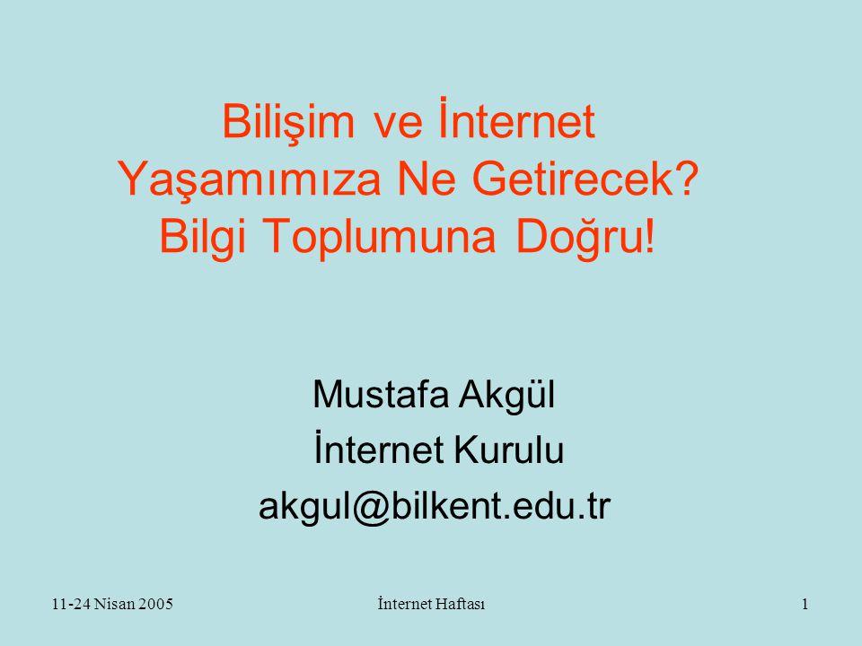 11-24 Nisan 2005İnternet Haftası2 ÖZET  Bilişim ve internet  İnternetin tarihçesi, büyüklüğü  İnternet Nedir .