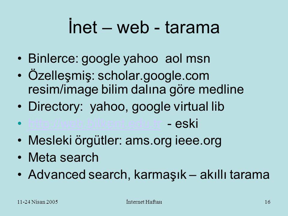 11-24 Nisan 2005İnternet Haftası17 İnternet - eposta •En az bir tane edinin: gmail.com yahoo.com ….