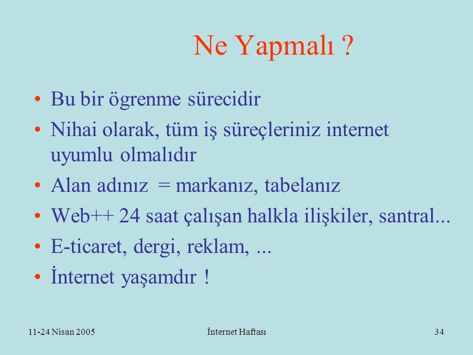 11-24 Nisan 2005İnternet Haftası35 ÖNCELİKLER - Acil Eylem Planı  (-1)BIT ve STK ların örgütlenmesi  (0)Toplumun gündemine girme  (1)Ulusal boyutta örgütlenme  (2)Mekanizmalar  (3)Eylem planı  (4) Bilişim Komisyonu  (5) E-Türkiye Kurultayı  (?)Mega proje  (?)Seferberlik