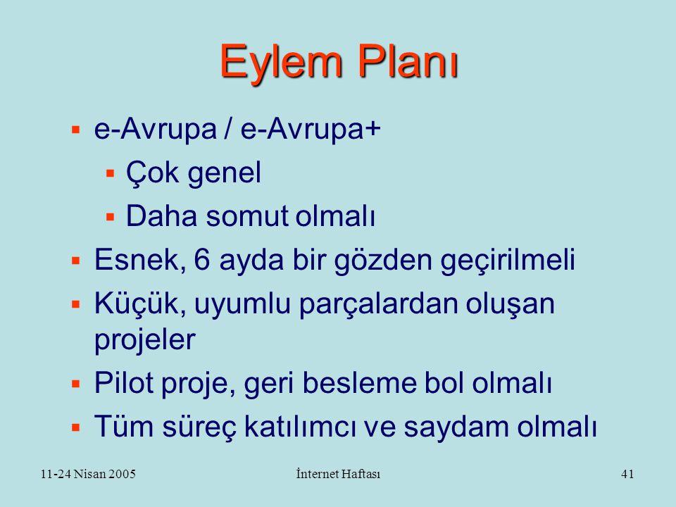 11-24 Nisan 2005İnternet Haftası42 Aşamalar  e-Türkiye ve e-Devlet birer yeniden yapılanma süreçleridir  Eşit olmayan gelişme  Tanışma / Genel kültür aşaması  Otomasyon süreçleri tanımlama  Web leşme  Geri besleme / değerlendirme mekanizmaları