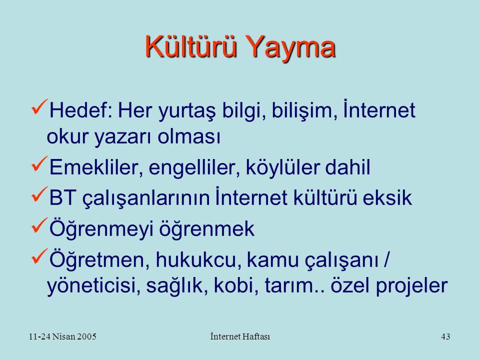 11-24 Nisan 2005İnternet Haftası44 Kültürü Yayma - II  Okullar  Sayısal uçurum  Evrensel hizmet  İnternet evleri  Halk kütüphaneleri  Halk evleri  Kamu kioskları