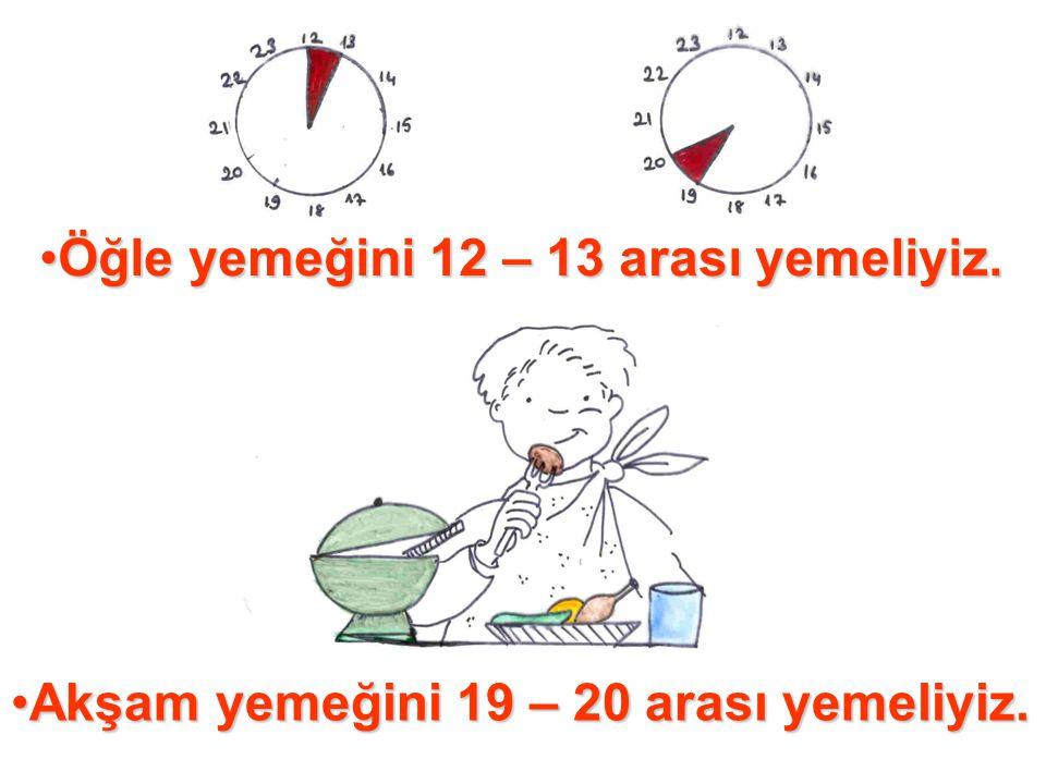 •Öğle yemeğini 12 – 13 arası yemeliyiz. •Akşam yemeğini 19 – 20 arası yemeliyiz.