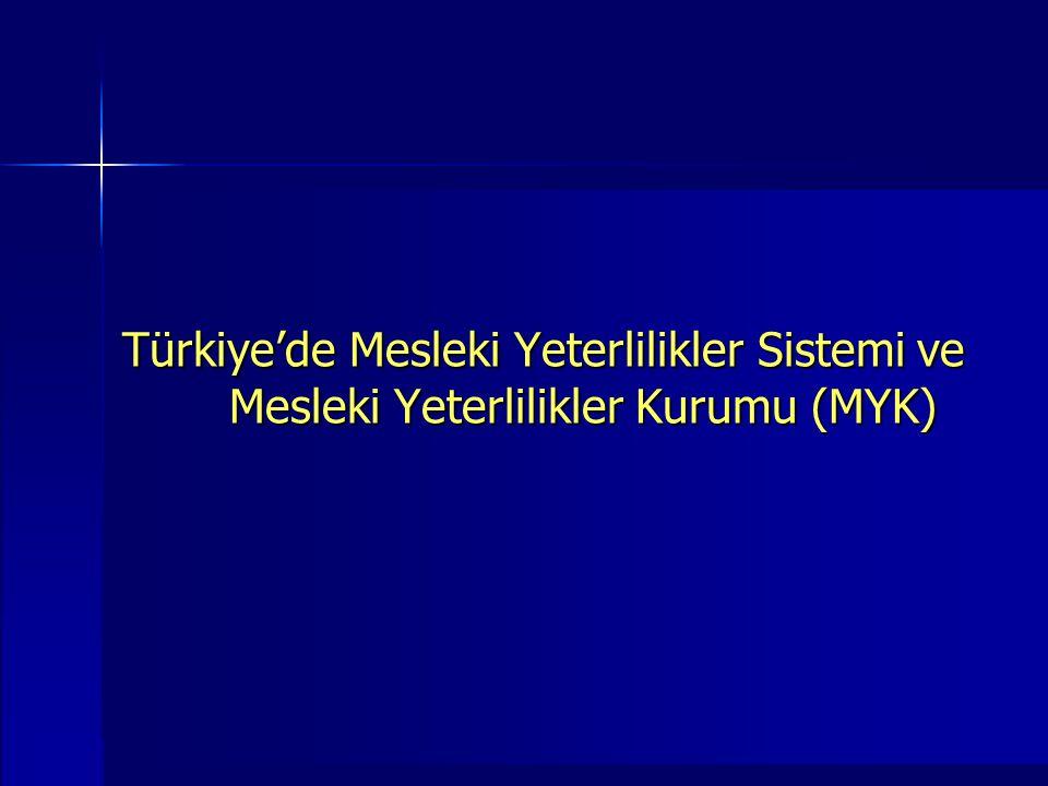 Türkiye'de Mesleki Yeterlilikler Sistemi ve Mesleki Yeterlilikler Kurumu (MYK)