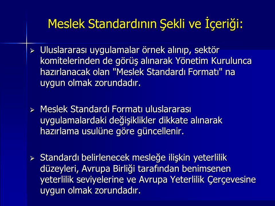 Meslek Standardının Şekli ve İçeriği:  Uluslararası uygulamalar örnek alınıp, sektör komitelerinden de görüş alınarak Yönetim Kurulunca hazırlanacak