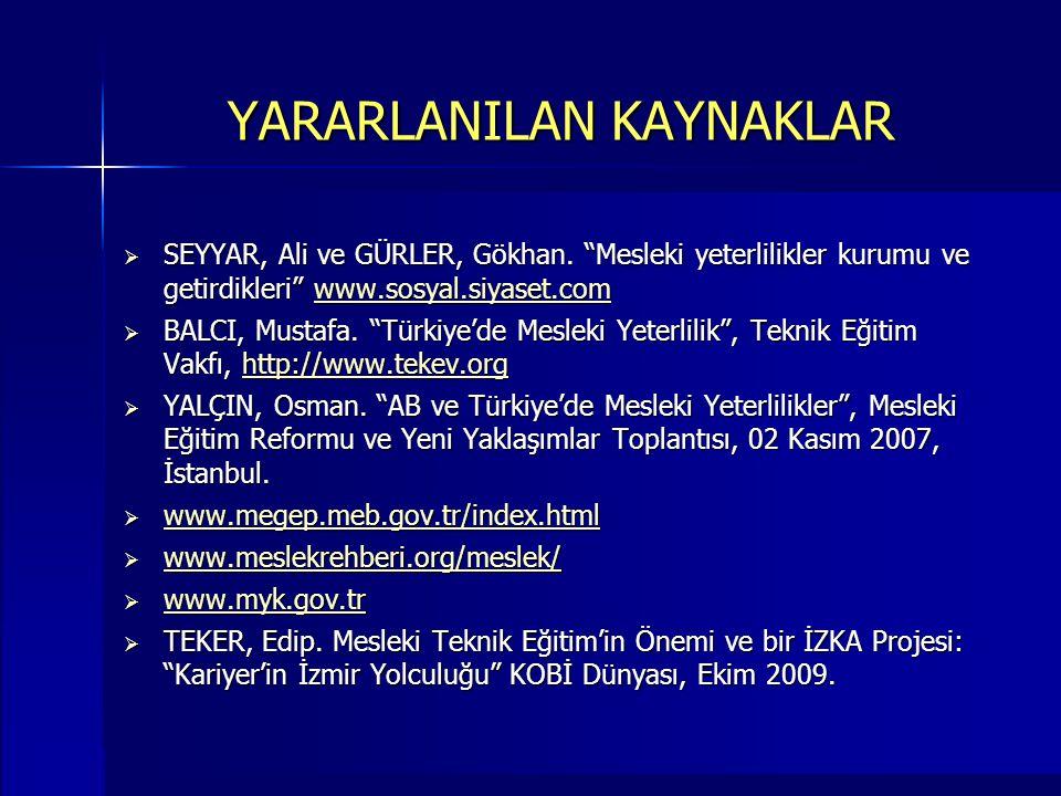 """YARARLANILAN KAYNAKLAR  SEYYAR, Ali ve GÜRLER, Gökhan. """"Mesleki yeterlilikler kurumu ve getirdikleri"""" www.sosyal.siyaset.com www.sosyal.siyaset.com """
