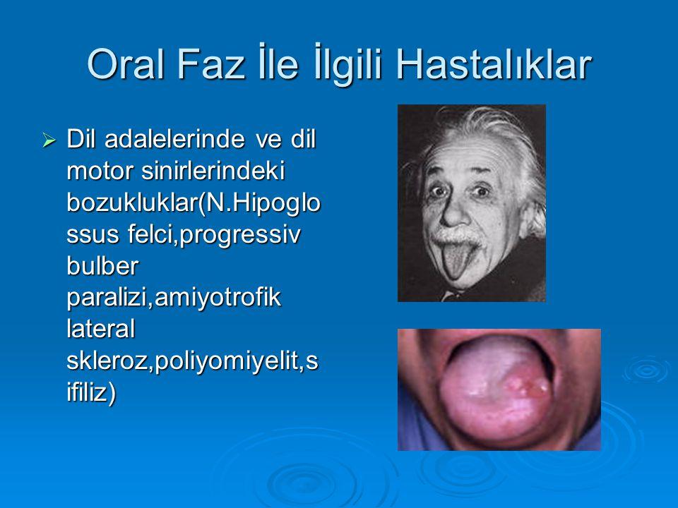Oral Faz İle İlgili Hastalıklar  Dil adalelerinde ve dil motor sinirlerindeki bozukluklar(N.Hipoglo ssus felci,progressiv bulber paralizi,amiyotrofik lateral skleroz,poliyomiyelit,s ifiliz)