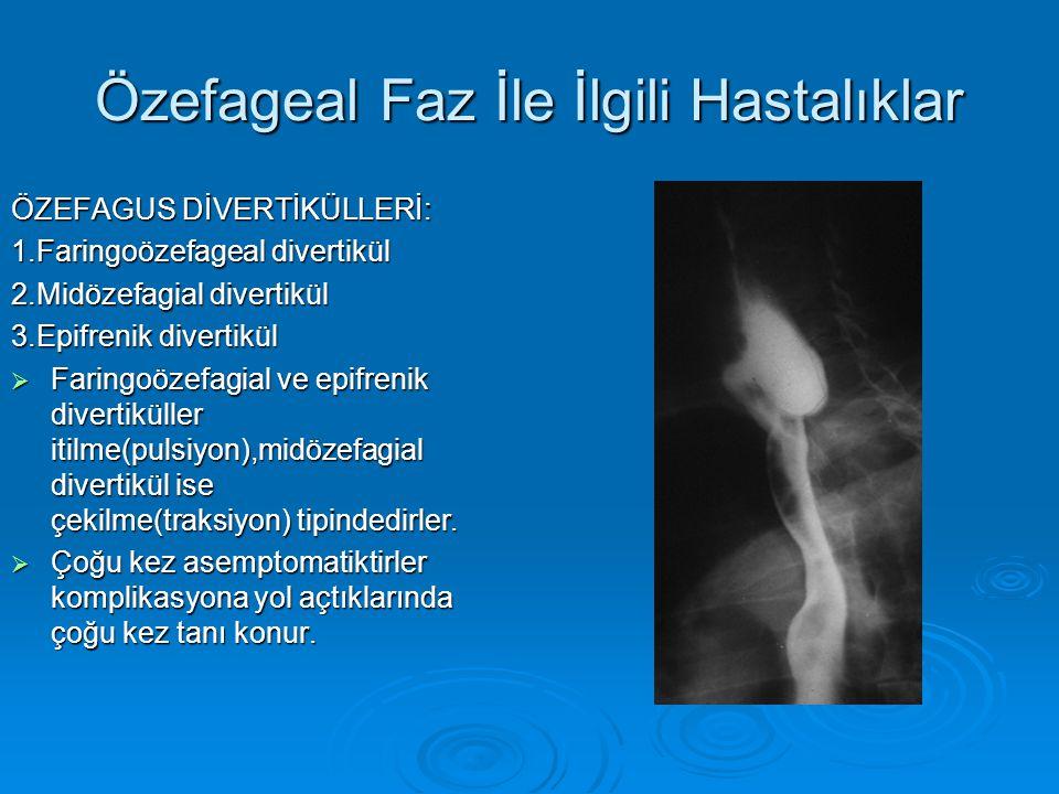 Özefageal Faz İle İlgili Hastalıklar ÖZEFAGUS DİVERTİKÜLLERİ: 1.Faringoözefageal divertikül 2.Midözefagial divertikül 3.Epifrenik divertikül  Faringoözefagial ve epifrenik divertiküller itilme(pulsiyon),midözefagial divertikül ise çekilme(traksiyon) tipindedirler.