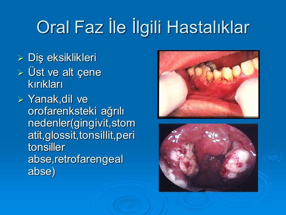 Oral Faz İle İlgili Hastalıklar  Diş eksiklikleri  Üst ve alt çene kırıkları  Yanak,dil ve orofarenksteki ağrılı nedenler(gingivit,stom atit,glossit,tonsillit,peri tonsiller abse,retrofarengeal abse)