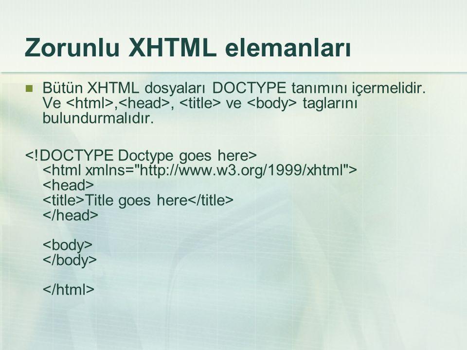 Zorunlu XHTML elemanları  Bütün XHTML dosyaları DOCTYPE tanımını içermelidir. Ve,, ve taglarını bulundurmalıdır. Title goes here