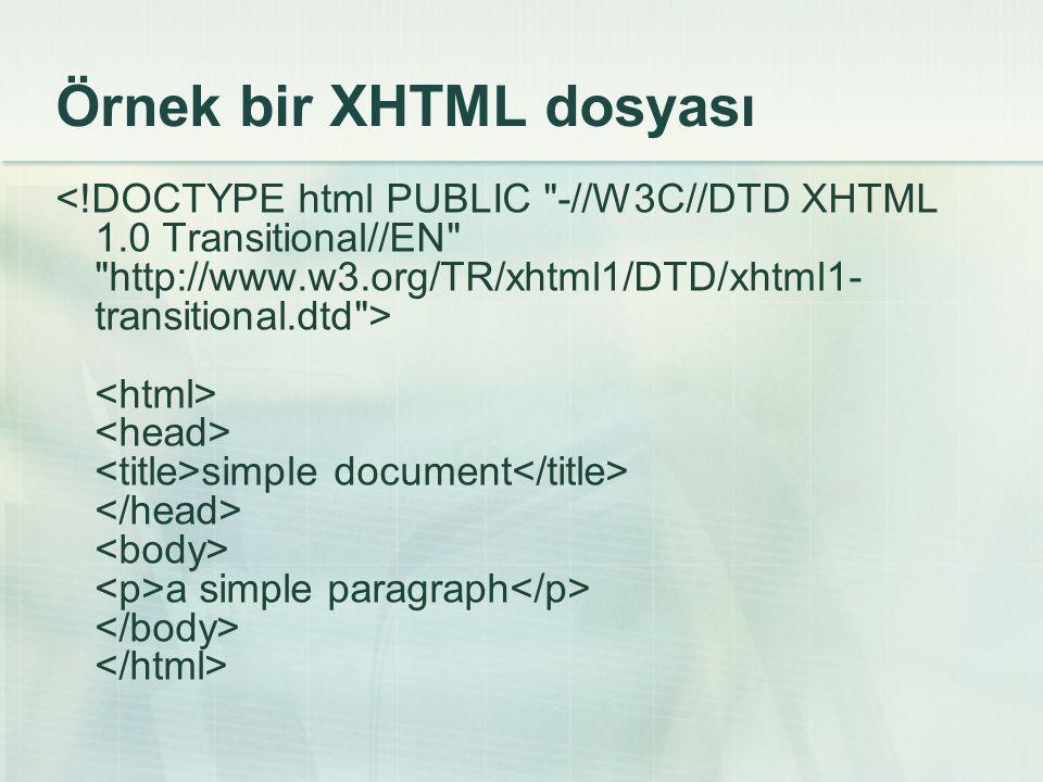 Örnek bir XHTML dosyası simple document a simple paragraph