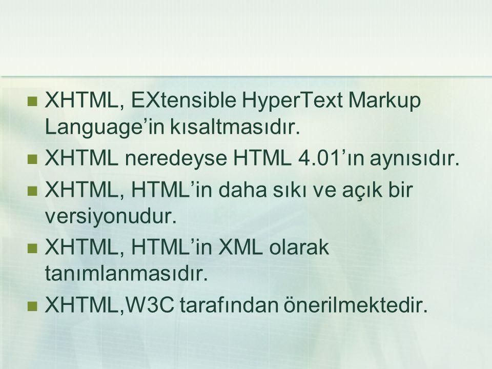  XHTML, EXtensible HyperText Markup Language'in kısaltmasıdır.  XHTML neredeyse HTML 4.01'ın aynısıdır.  XHTML, HTML'in daha sıkı ve açık bir versi