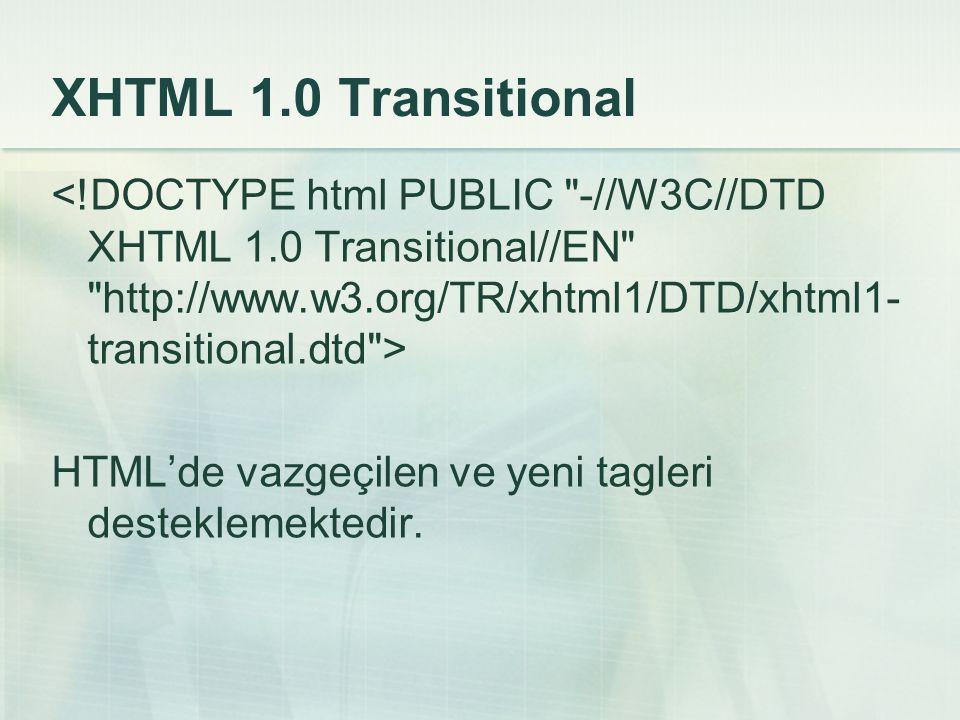 XHTML 1.0 Transitional HTML'de vazgeçilen ve yeni tagleri desteklemektedir.