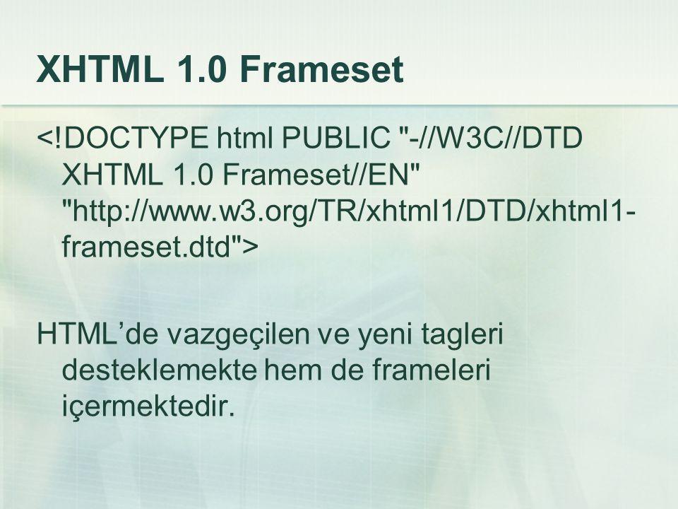 XHTML 1.0 Frameset HTML'de vazgeçilen ve yeni tagleri desteklemekte hem de frameleri içermektedir.