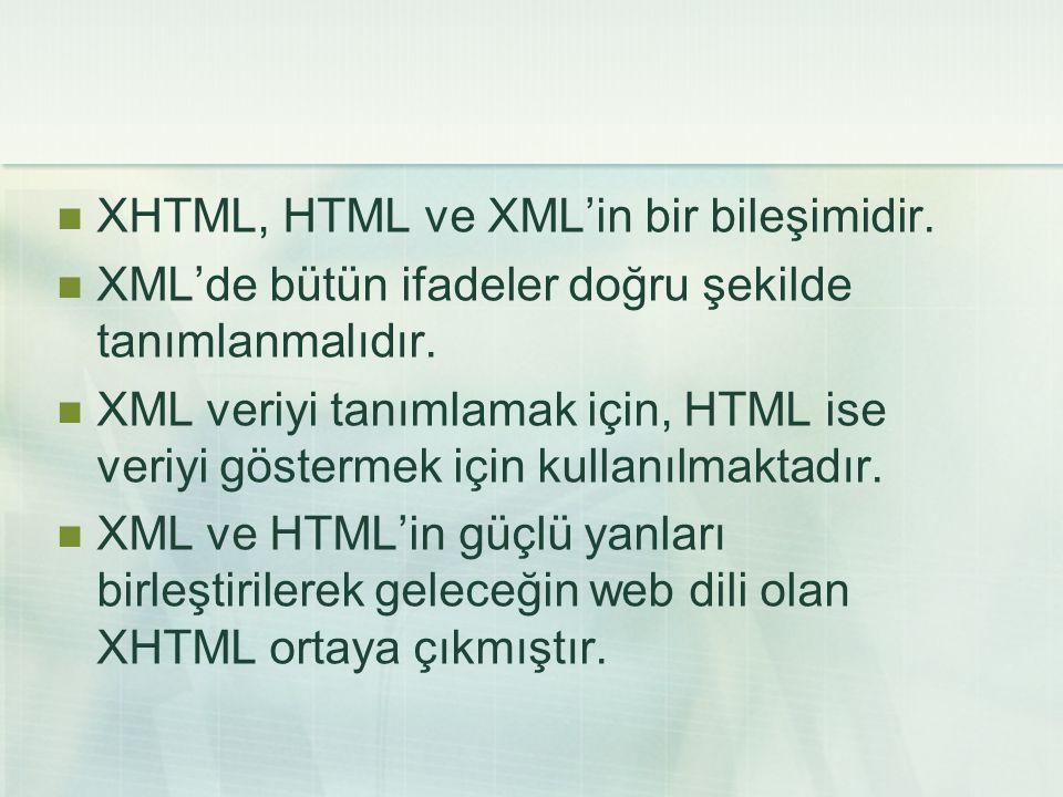  XHTML, HTML ve XML'in bir bileşimidir.  XML'de bütün ifadeler doğru şekilde tanımlanmalıdır.  XML veriyi tanımlamak için, HTML ise veriyi gösterme