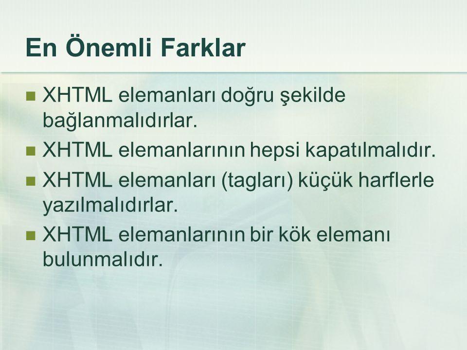 En Önemli Farklar  XHTML elemanları doğru şekilde bağlanmalıdırlar.  XHTML elemanlarının hepsi kapatılmalıdır.  XHTML elemanları (tagları) küçük ha