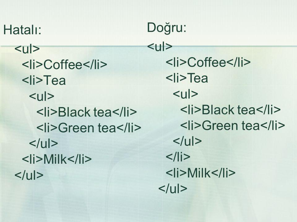 Hatalı: Coffee Tea Black tea Green tea Milk Doğru: Coffee Tea Black tea Green tea Milk