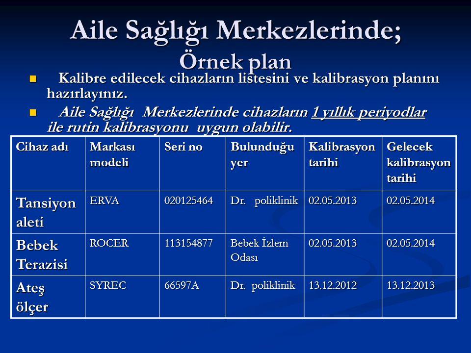 Aile Sağlığı Merkezlerinde; Örnek plan  Kalibre edilecek cihazların listesini ve kalibrasyon planını hazırlayınız.