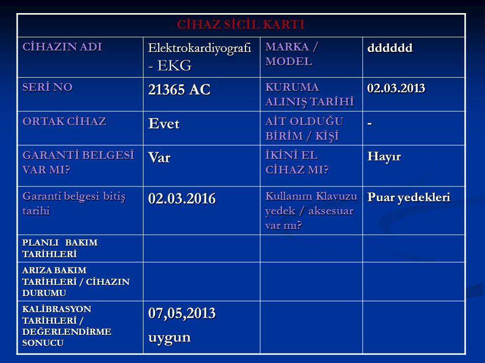 CİHAZ SİCİL KARTI CİHAZIN ADI Elektrokardiyografi - EKG MARKA / MODEL dddddd SERİ NO 21365 AC KURUMA ALINIŞ TARİHİ 02.03.2013 ORTAK CİHAZ Evet AİT OLDUĞU BİRİM / KİŞİ - GARANTİ BELGESİ VAR MI.