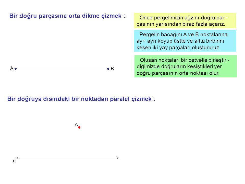 Örnek : P P noktasını d doğrusu üzerindeki A,B,C,D noktaları ile ayrı ayrı birleştiriniz.