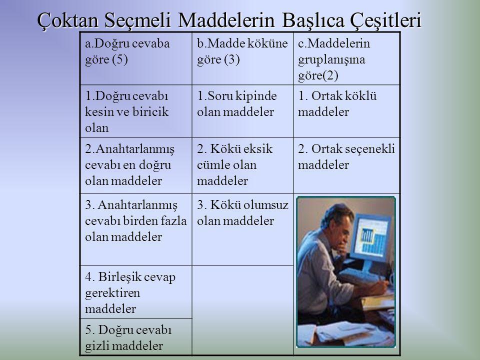 Çoktan Seçmeli Maddelerin Başlıca Çeşitleri a.Doğru cevaba göre (5) b.Madde köküne göre (3) c.Maddelerin gruplanışına göre(2) 1.Doğru cevabı kesin ve