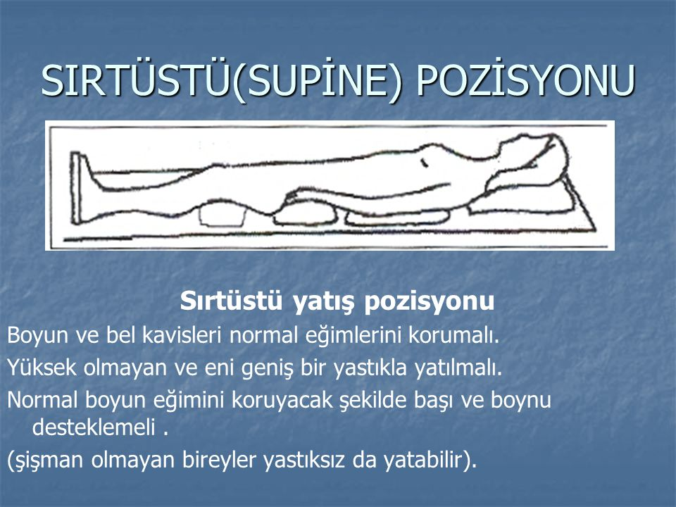 SIRTÜSTÜ(SUPİNE) POZİSYONU Sırtüstü yatış pozisyonu Boyun ve bel kavisleri normal eğimlerini korumalı. Yüksek olmayan ve eni geniş bir yastıkla yatılm